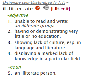 dictionary.com definiition of illiterate